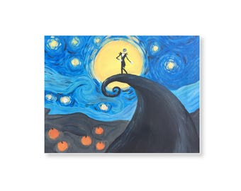 "Van Gogh and Tim Burton Mashup ""A Starry Nightmare Before Christmas"" Postcard"