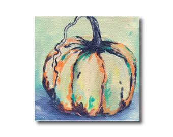 White and Orange Pumpkin Autumn Artwork Acrylic Painting on Canvas