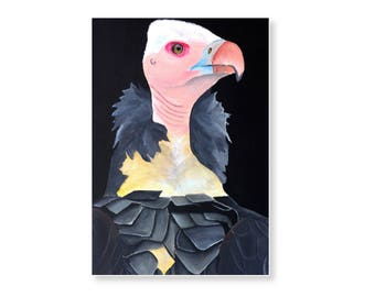 Lappet-faced vulture acrylic painting on gallery wrapped canvas