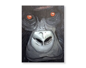 Mountain gorilla acrylic painting on wood