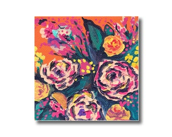 Abstract Floral Acyrlic Painting on Orange Background, Flowers on Canvas