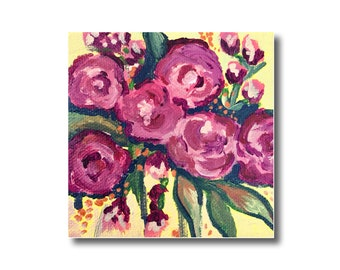 Abstract Rose Acrylic Painting on Canvas, Flowers Artwork