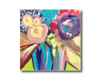 Abstract Floral Acrylic Painting, Flowers on Canvas