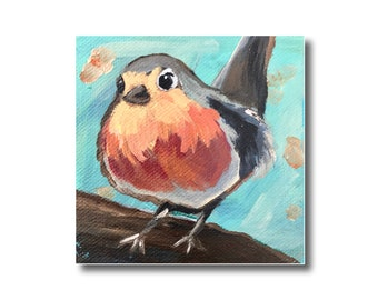 Robin Painting Acrylic on Canvas