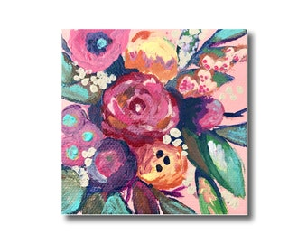 Abstract Floral Acrylic Painting on 4x4 Canvas, Floral Artwork