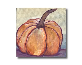 Orange Pumpkin Autumn Artwork Acrylic Painting on Canvas