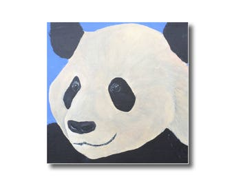 Giant panda portrait acrylic painting on gallery wrapped canvas