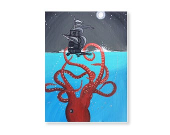 Kraken Sea Monster Art 9x12 Octopus Art Print