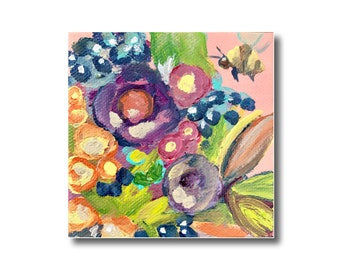 Abstract Floral Acrylic Painting on Canvas, Flower Painting and Bee