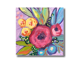 Abstract Floral Acrylic Painting on Canvas