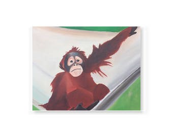Sumatran orangutan baby in a hammock acrylic painting on gallery wrapped canvas