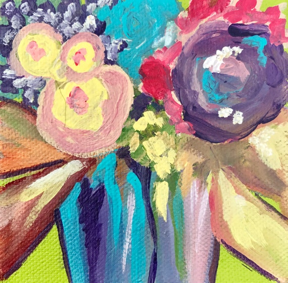 Abstract Floral Acrylic Painting Flowers On Canvas