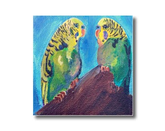 Parakeet Bird Artwork Acrylic Painting on Canvas