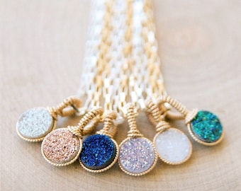The Prettiest Druzy necklace with Rectangular Chain by Bare and Me/ Rectangular Chain with Brilliant White Druzy/ Bridal Jewelry/ Sparkling