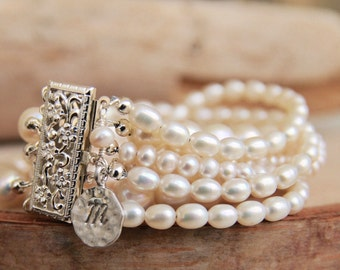 Boho Pearl Bridal Bracelet/ Multi Strand Boho Personalized Bridal Bracelet/ Personalized Pearl Boho Bracelet Handcrafted by Bare and Me