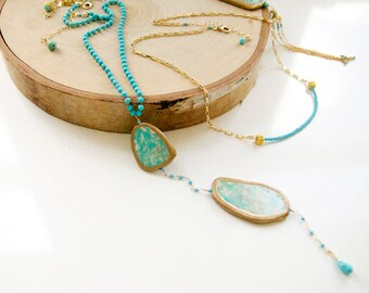 Tassel Turquoise Necklace/ Long and Layered Turquoise Collection/Handcrafted Jewelry by Bare and Me/Turquoise Summer Jewelry/Summer Necklace
