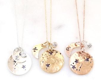 Celestial Zodiac Jewelry, Aries Personalized Gift Personalized Zodiac, Aries GiftsBest Friend Gift Ideas/Aries Star and Moon Zodiac