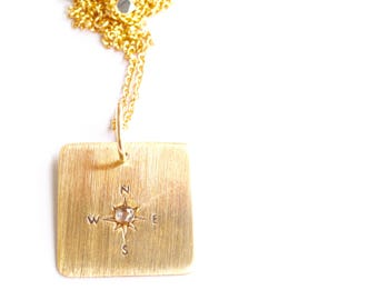Square True North White Sapphire Pendant Handcrafted by Bare and Me on Etsy/ Personalized True North Jewelry/ Holiday Gifts for Sisters/Gift