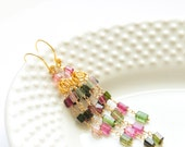 Tourmaline Rectangle Statement Earrings Handcrafted by Bare and Me/ Army Green and Pink Earrings Made with Tourmaline/ Statement Earrings