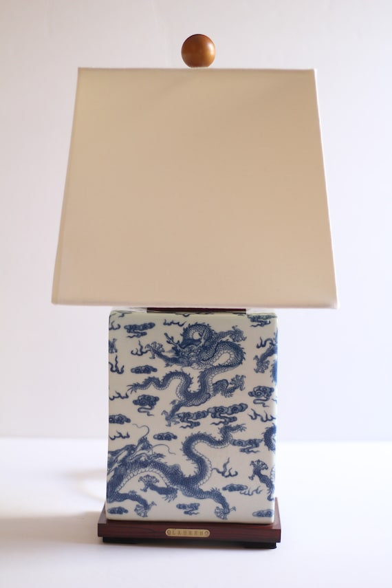 Blue Table Lamp Chinese, Ralph Lauren Blue And White Dragon Lamp