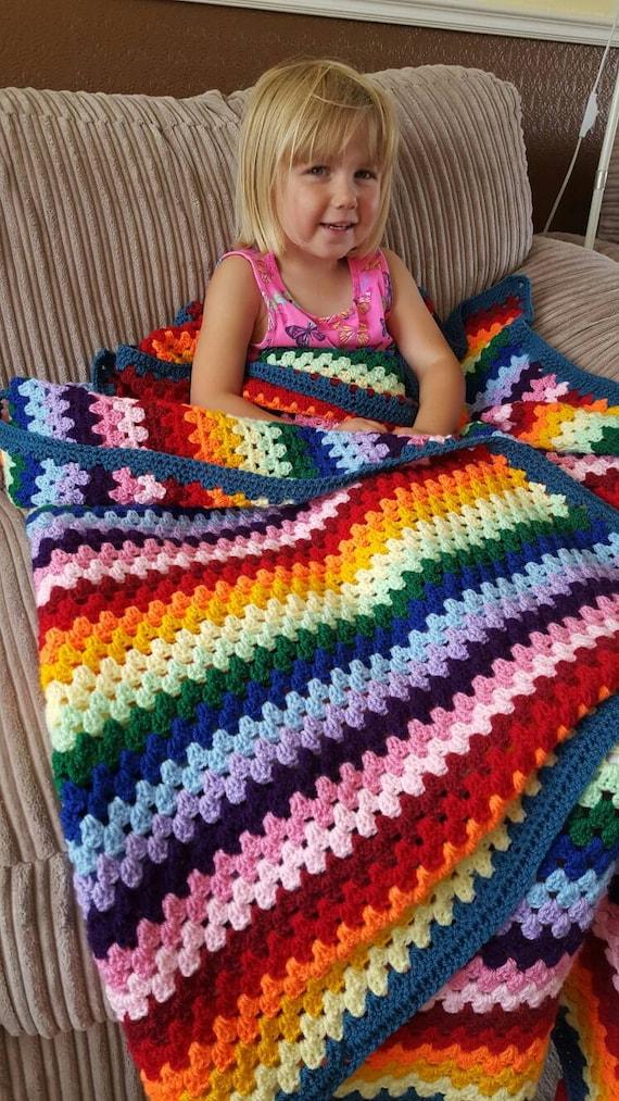 Regenbogen-Baby-Decke häkeln Oma Streifen Decke Babydecke | Etsy