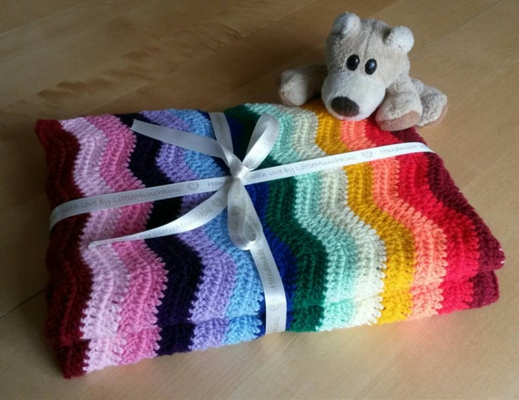 Regenbogen-Baby-Decke häkeln ripple Decke Afghan Babydecke | Etsy