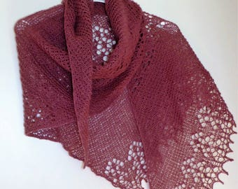 Beautiful hand-knitted mallow woolen cloth/scarf.