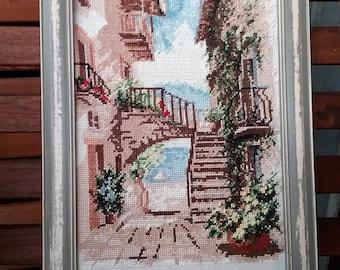 """Wunderschönes Kreuzstichbild  mit Holzrahmen """"Sommer in Italien""""  21x30cm"""
