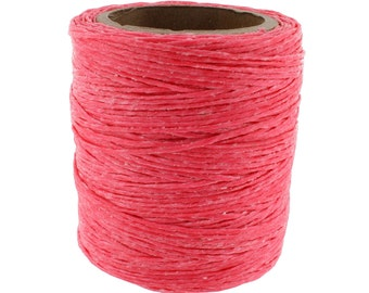 Includes 2 spools. 210 feet Each Maine Thread .030 Hot Pink Waxed Polycord