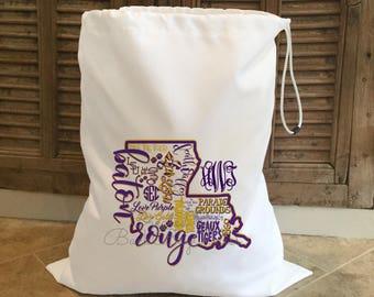 Personalized Laundry Bag •LSU Personalized Hamper • Monogrammed Laundry Bag • Graduation Gift • Monogrammed Gym Bag • Baton Rouge Bag