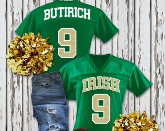 93dd87236 Personalized Glittery Ladies Football Jersey • YOUR team name & YOUR number  • 6 different jersey colors and 11 different glitter colors