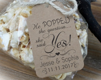 Bridal Shower Popcorn Favor kits-3 TAG COLORS | Popcorn favor-20-100 DIY Bags/Favor Tags & tie, He Popped the question-Bag szLge