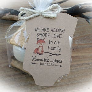 Raccoon with Flowers Baby Shower Favor Woodlands Girl Baby Shower Favor Adding S/'more love to our family Raccoon Baby Shower Favor Girl