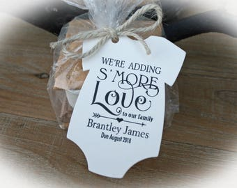 We're Adding S'More Love to our Family Tags Only OR Bags/Tags + Twine| 3 Tag Colors |  Baby Shower Favor Tags | Baby shower Favors -FTsml120