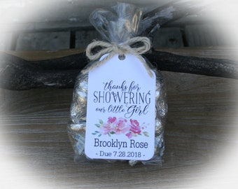 Girl Baby Shower Favor | Flower Baby Shower Favor | Thank you for showering our little girl | Tags only OR DIY Bags/Tags/tie, Boho Baby