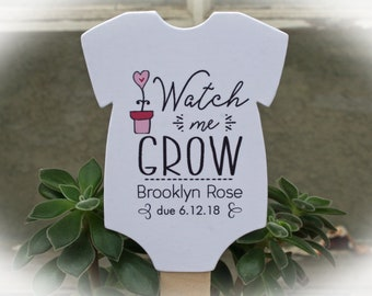 Watch Me Grow favor tags or Kits |  -Tags ONLY or kits with sticks (NO plants included) |  Succulent Baby shower Favor tags-OFTwmg3