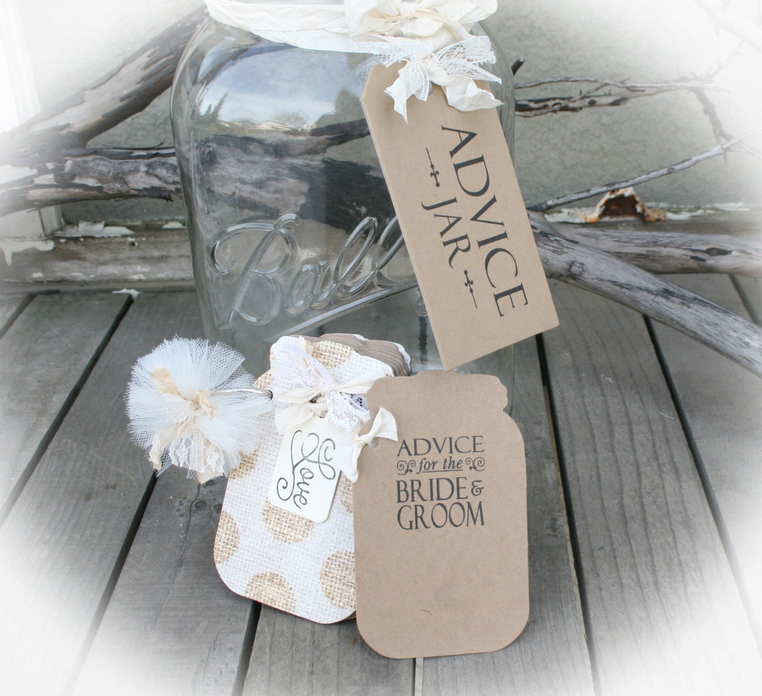 Advice For The Bride Groom Mason Jar Style Tags Book And Tag Etsy