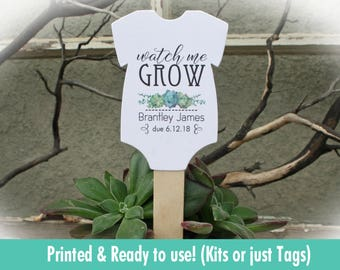 Watch Me Grow favor tags or Kits |  -Tags ONLY or kits with sticks (NO plants included) |  Succulent Baby shower Favor tags-OFTwmg1