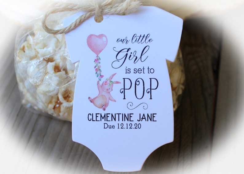 BOHO Baby Shower Favor Tags Only Or BagsTagstie Set to POP Baby Shower Favor Popcorn Baby Shower Set to pop Girl Baby Shower Favor