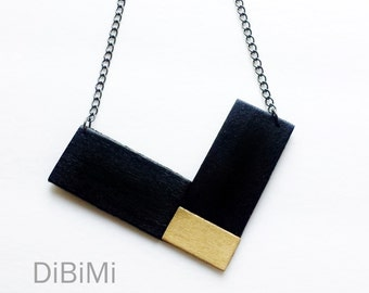 geometric jewelry-modern necklace-contemporary necklace in gold and black-wood jewelry