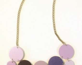 Modern geometric wooden necklace - circular in different shades of Purple - modern, contemporary, minimalist handmade jewelry- eco friendly