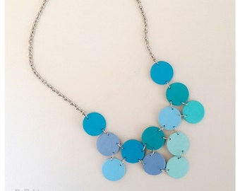 Modern geometric wooden necklace- circular in different shades of blue - modern, contemporary, minimalist handmade jewelry- eco friendly