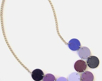 Modern geometric wooden necklace- circular in various shades of purple- modern, contemporary, minimalist handmade jewelry- eco friendly