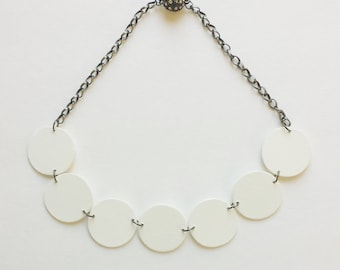 Modern geometric wooden necklace- circular in white color - modern, contemporary, minimalist handmade jewelry- eco friendly