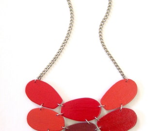 Modern geometric wooden necklace- in red - modern, contemporary, minimalist handmade jewelry- eco friendly
