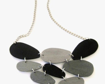 Modern geometric wooden necklace- in black, silver, pewter- modern, minimalist, contemporary handmade jewelry- eco friendly