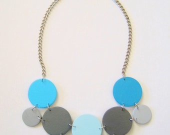 Modern geometric wooden necklace- in light blue, sky blue, turquoise, gray - modern, contemporary, minimalist handmade jewelry- eco friendly