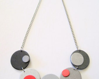 Modern geometric wooden necklace - in red, silver, pewter, gray, black - modern, contemporary, minimalist handmade jewelry - eco friendly