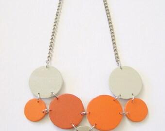 Modern geometric wooden necklace- in orange and beige - modern, contemporary, minimalist handmade jewelry- eco friendly