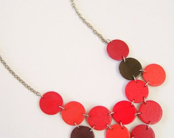 Modern geometric wooden necklace- circular in different shades of red,brown -modern, contemporary, minimalist handmade jewelry- eco friendly